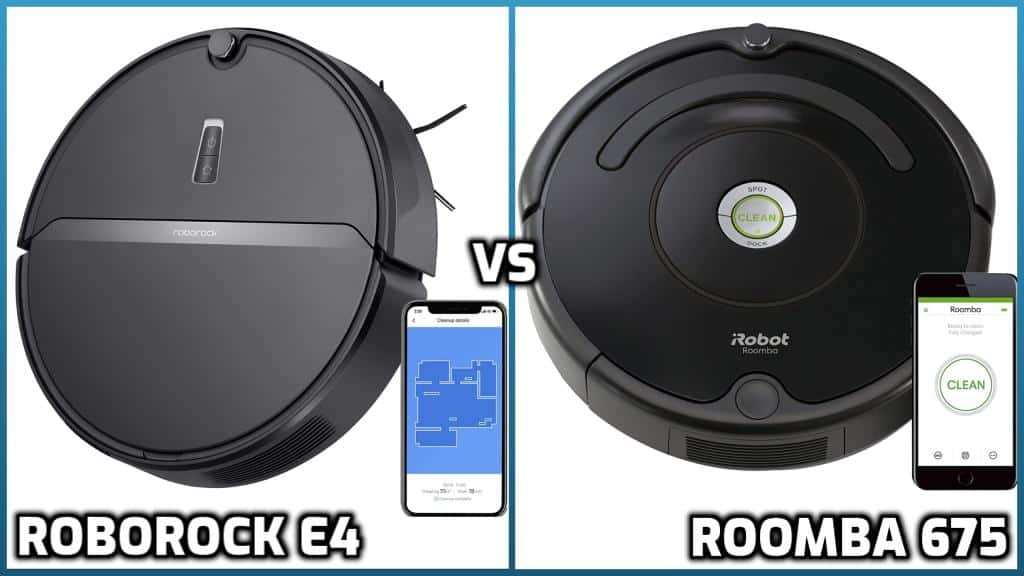 Comparison of roborock e4 and roomba 675 models