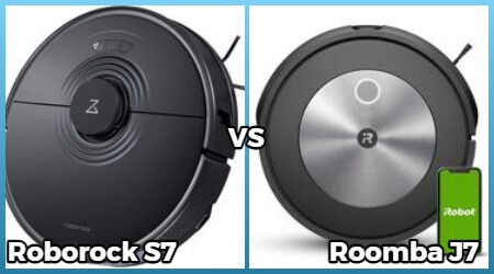 Comparison of Roborock S7 and Roomba J7 models